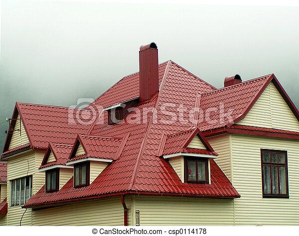 casa, rojo, techo - csp0114178