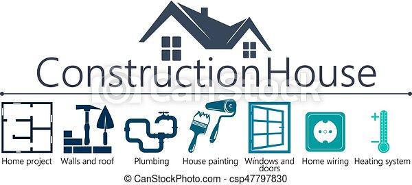 El símbolo de la construcción de la casa - csp47797830
