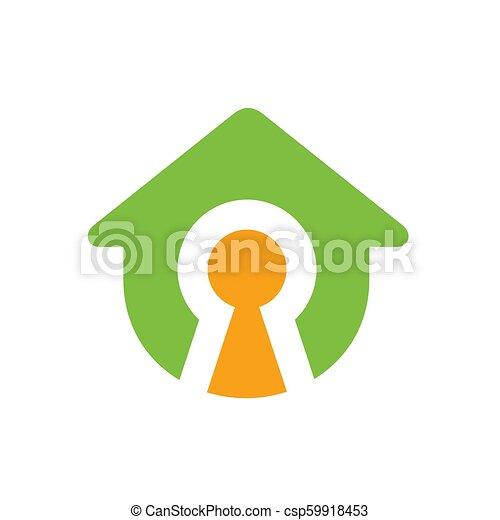 Simbolo de casa con cerradura, diseño de logo Vector - csp59918453
