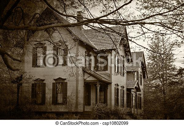 casa, sepia, assombrado - csp10802099