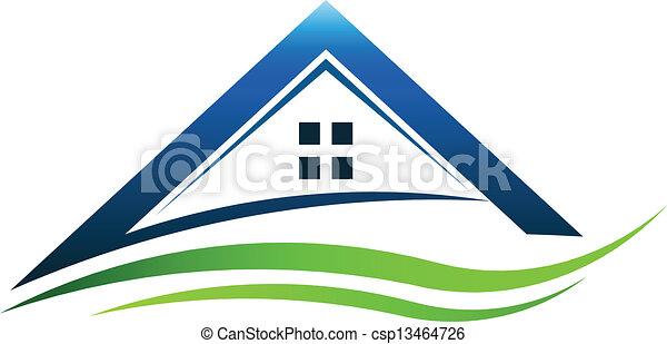 casa, sinal, verde, swoosh - csp13464726
