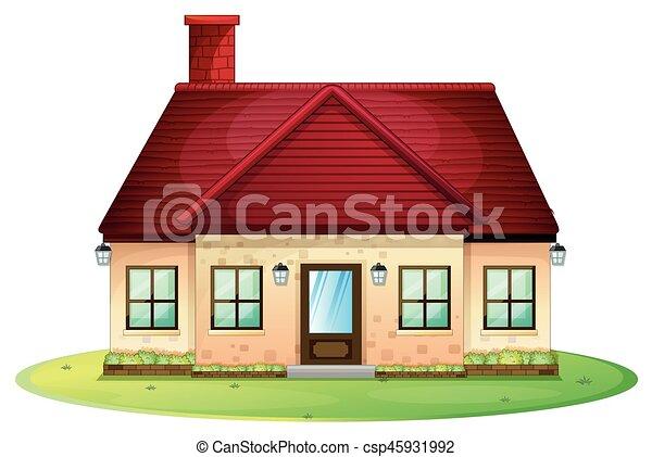 Casa singolo camino rosso tetto casa tetto singolo for Disegni camino casa