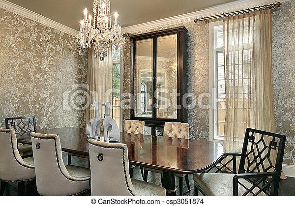 casa, stanza, lusso, cenando - csp3051874
