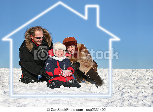 casa, sueño, invierno, familia , sentarse - csp2331492