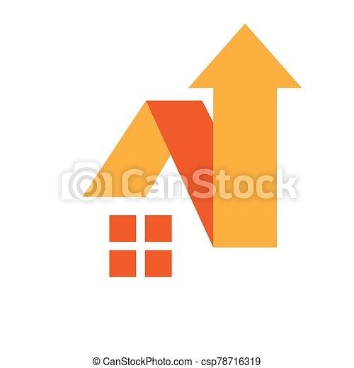 casa, techo, símbolo, diseño, flecha, hogar, arriba, vector, señal, logotipo, mejora - csp78716319