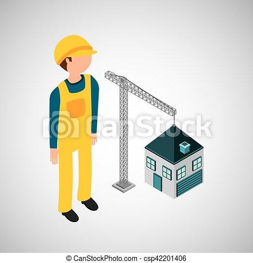 Bajo la construcción grúa nueva casa - csp42201406