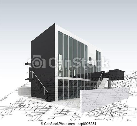 Una casa modelo de arquitectura con planos y planos. Vector - csp8925384