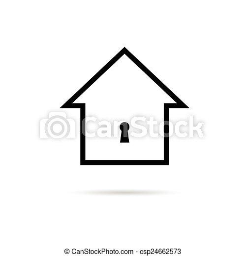 Casa con vector de cerradura - csp24662573