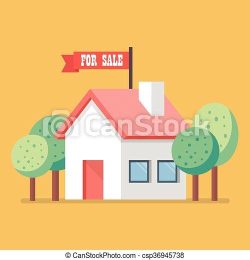 Casa en venta icono plano - csp36945738