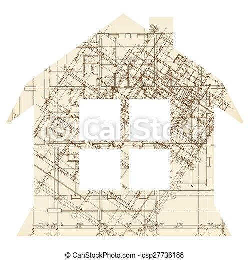 Casa con icono de arquitectura de ventana - csp27736188
