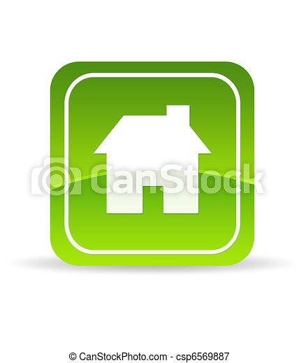 casa, verde, icona - csp6569887
