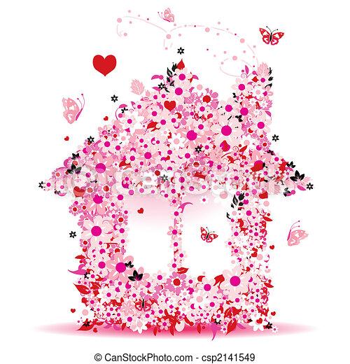 casa, vettore, disegno, illustrazione, floreale, tuo - csp2141549