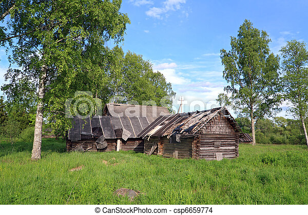 casa, viejo, abandonado, aldea - csp6659774
