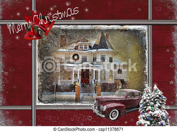 casa, vitoriano, carro vintage - csp11378871