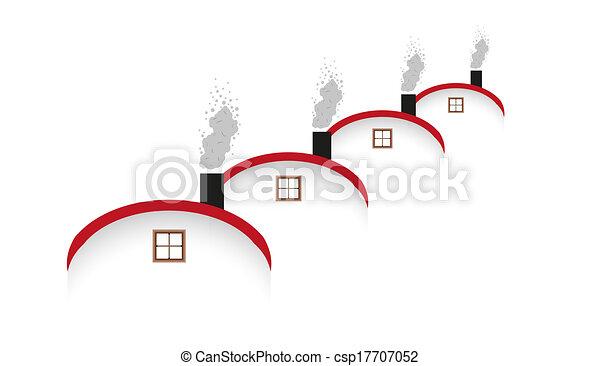 casas, arredondado, chaminé, telhado, fumar - csp17707052