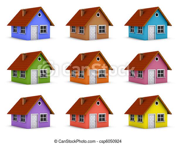 casas coloridos representado coloridos simples casa collage
