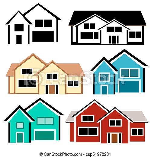 casas coloridos casas jogo isolado fundo