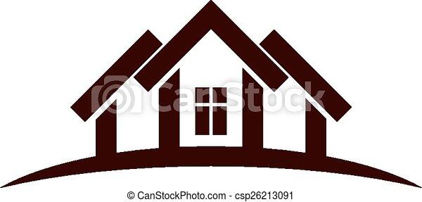 Casas abstractas con línea de horizonte. - csp26213091