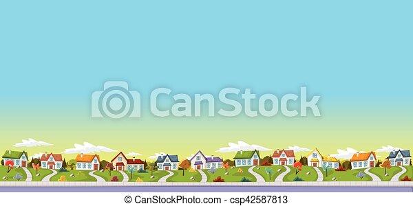 Casas coloridas en los suburbios. - csp42587813