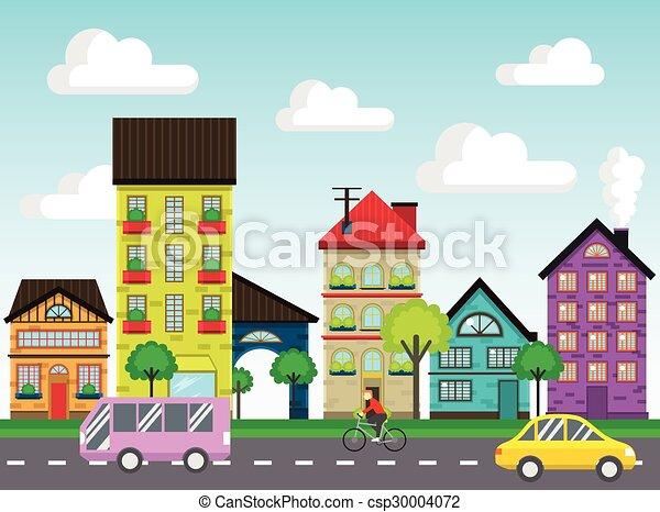 vetorial casas rua coloridos