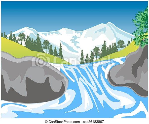 Una cascada en la montaña - csp36183867