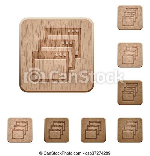 Cascade window view mode wooden buttons - csp37274289