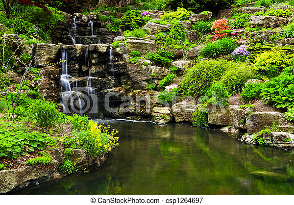Cascading waterfall and pond - csp1264697