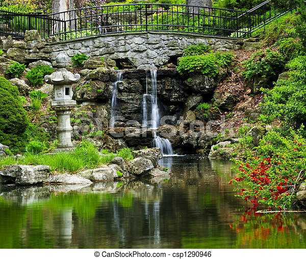 Cascading waterfall and pond - csp1290946