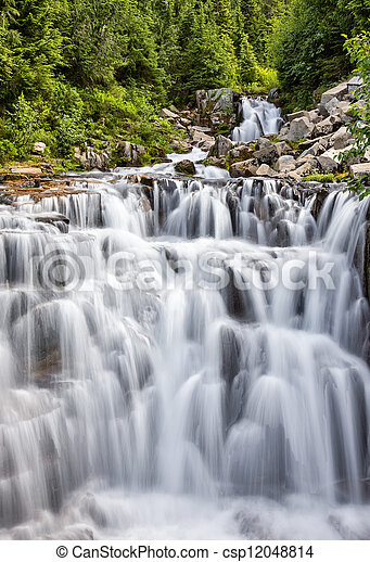 Cascading waterfall at Mount Rainier - csp12048814