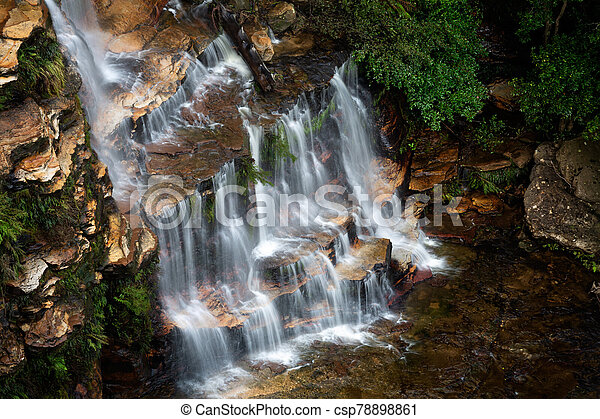 Cascading waterfall in the Blue Mountains - csp78898861
