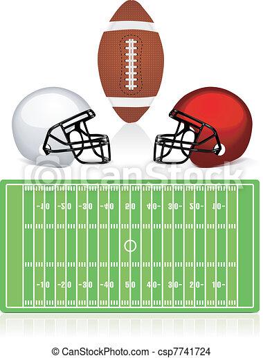 casco, americano, palla, campo, football - csp7741724