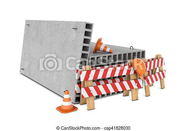 Redención de cercas de tráfico, conos, cascos y bloques de suelo de concreto aislados en fondo blanco. - csp41828030
