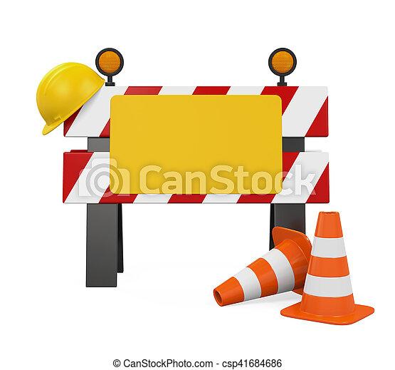 Bajo la barrera de construcción, conos de tráfico y casco de seguridad - csp41684686