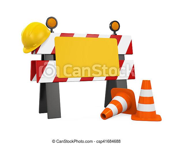 Bajo la barrera de construcción, conos de tráfico y casco de seguridad - csp41684688
