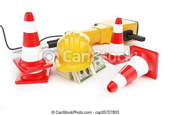 Conos de tráfico de cascos, conos de carretera - csp35727803