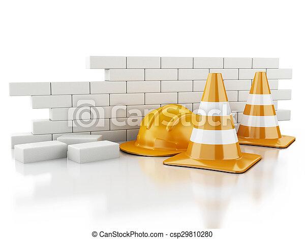 Conos 3D de Tráfico, Casco y pared de ladrillos. - csp29810280