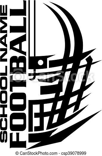 Diseño de equipo de fútbol con casco y máscara para la escuela - csp39078999