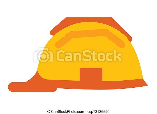 Casco de trabajador aislado vector de sombrero de icono de plástico - csp73136590