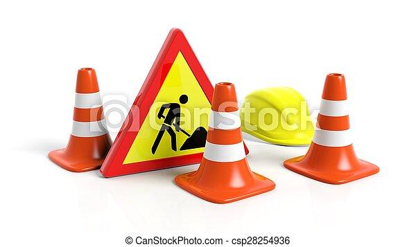 Conos de tráfico, cascos y señales de advertencia aisladas en antecedentes blancos - csp28254936