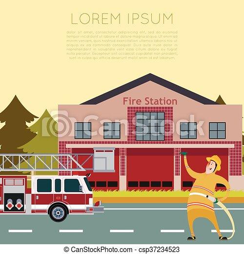 caserma dei pompieri, banner2 - csp37234523