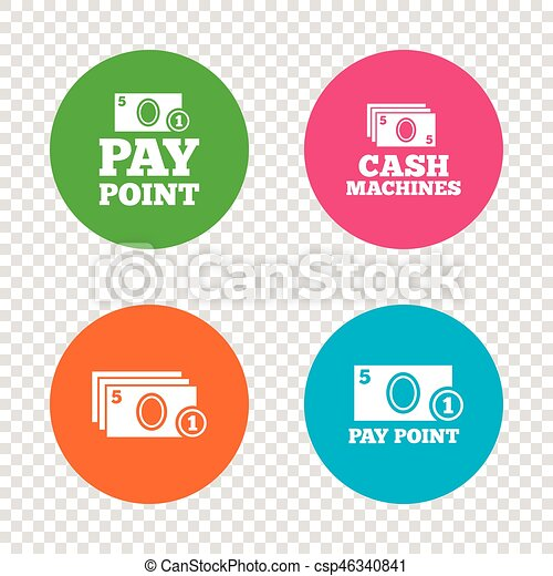 Cash and coin icons  Money machines or ATM