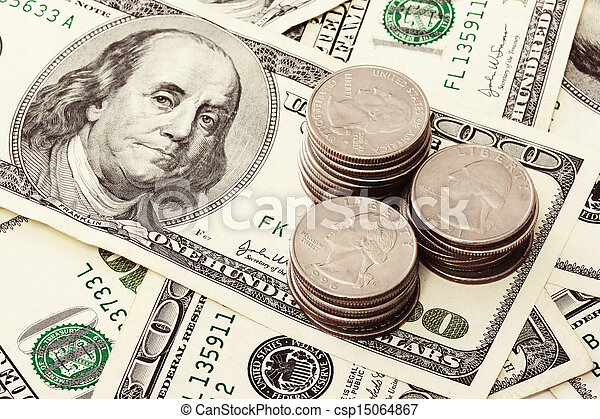Cash And Coins Spread Of One Hundred Dollar Bills And American Coins Canstock
