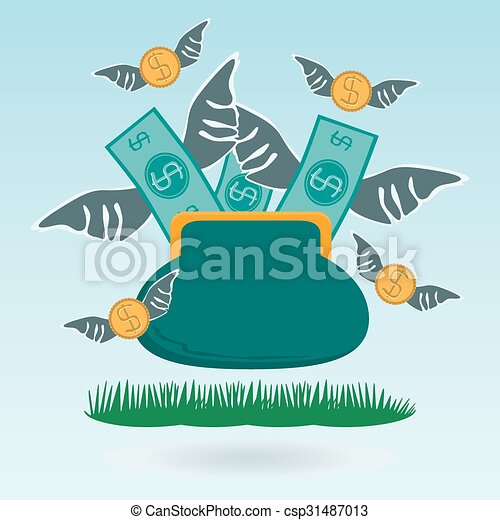 Cash expenditure. Wallet with money fly away. Business grass concept - csp31487013