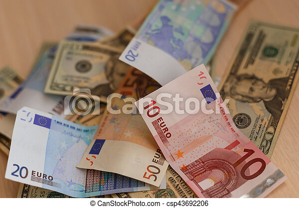 Cash On Table Isolated Dollars Euro Broken Money All In Mess Global Crisis