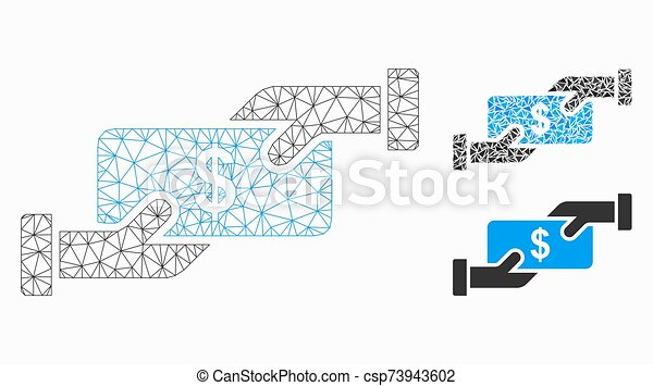 Cash Payment Vector Mesh Wire Frame Model and Triangle Mosaic Icon - csp73943602