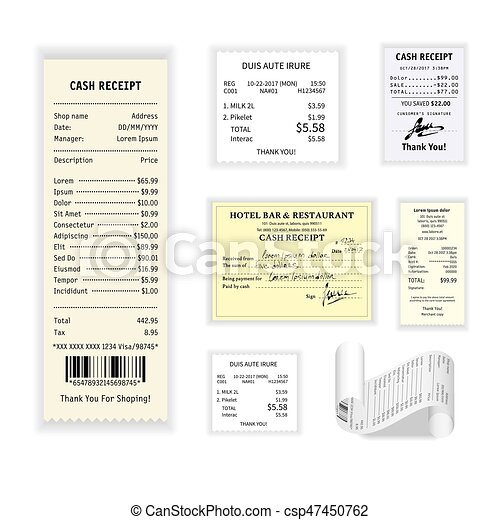 Cash receipts vector colorful poster isolated on white - csp47450762