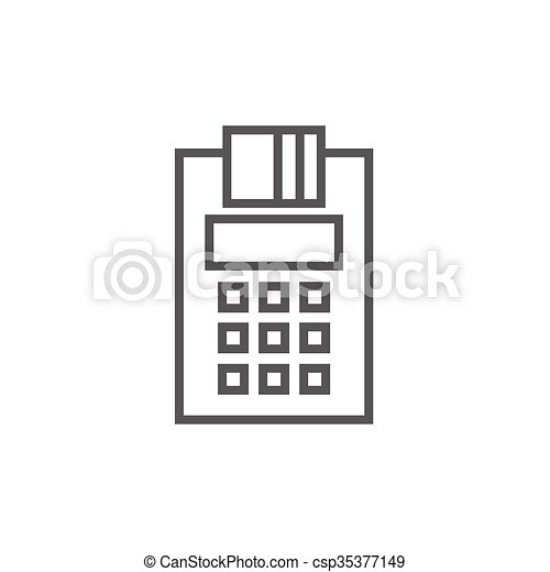 Cash register line icon. - csp35377149