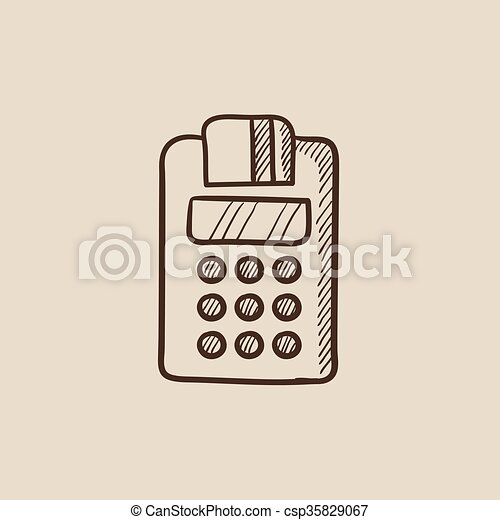Cash register sketch icon. - csp35829067
