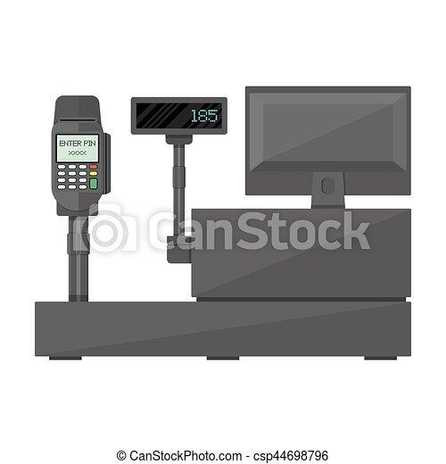 Cash register with display, payment terminal. - csp44698796