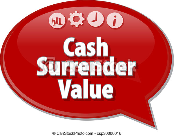 Cash Surrender Value Business term speech bubble illustration - csp30080016